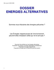 nouvelles energies et avenir