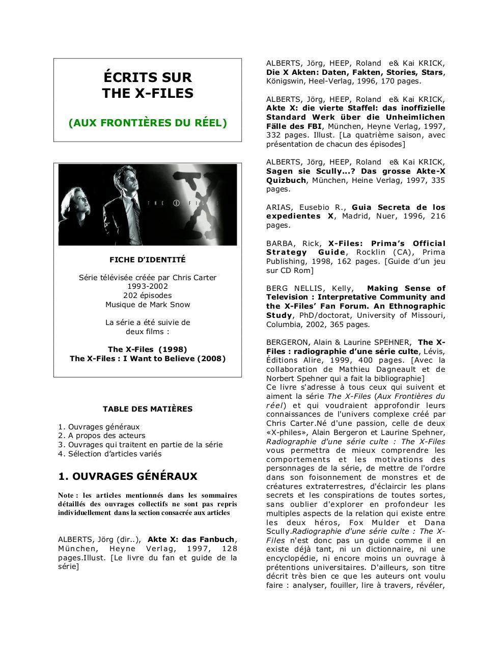 The X Filesdoc Par Norbert Spehner The X Files Pdf Fichier Pdf