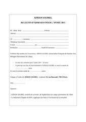 bulletin adhesion afransaurel