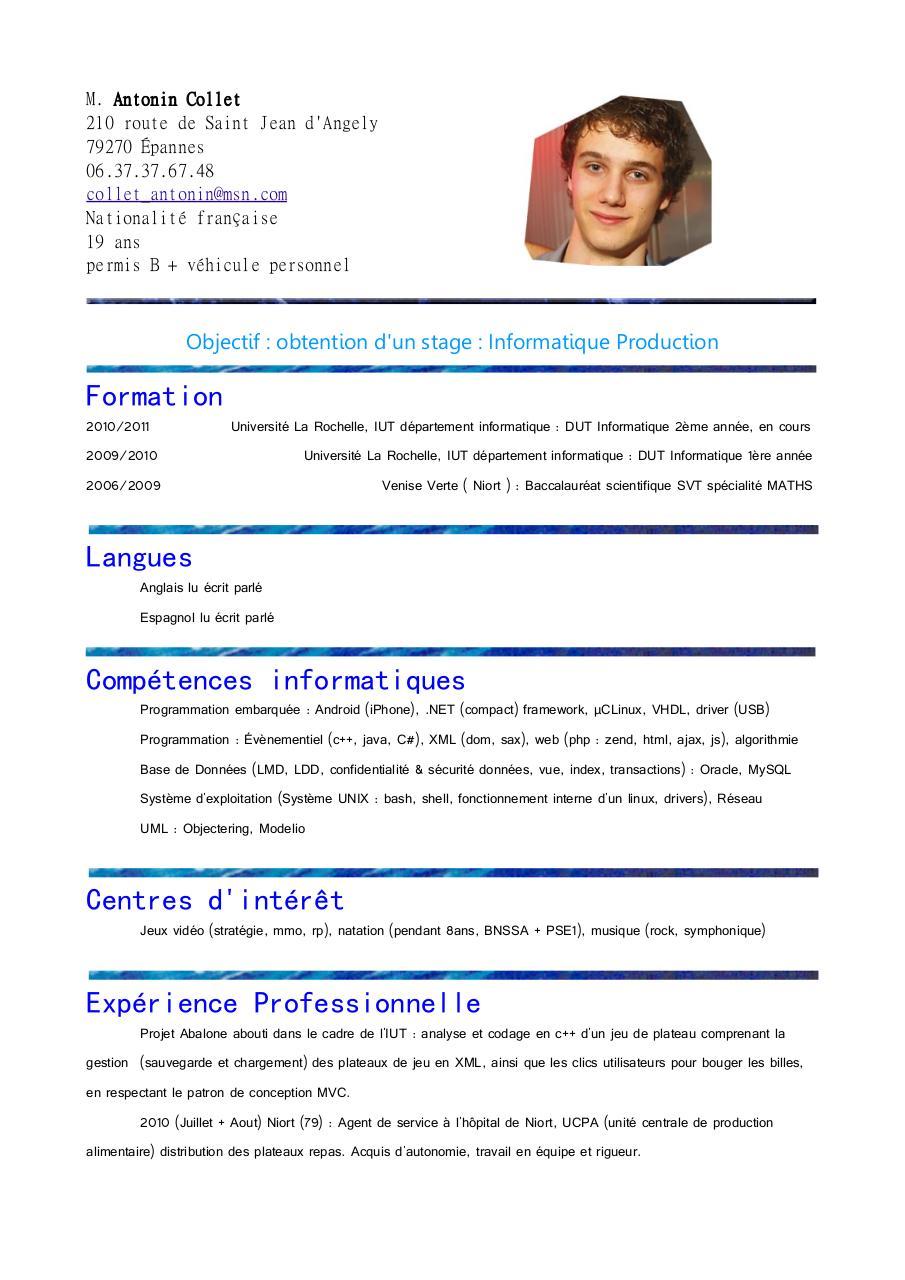 resume format  exemple de cv gratuit pour agent de s u00e9curit u00e9