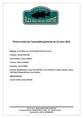 proces verval de l assemblee generale du 13 mars 2011