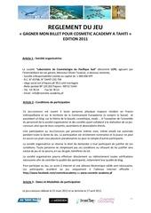 reglement jeu gmbct edition 2011