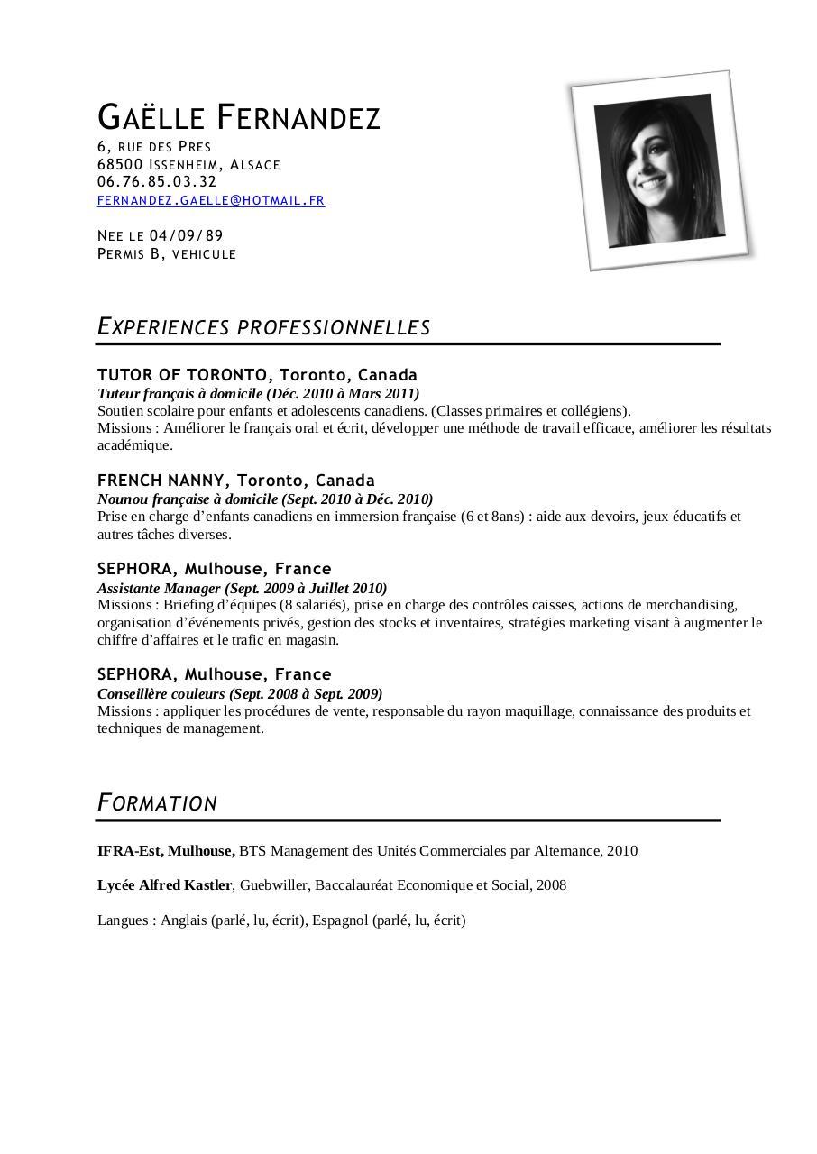 cv exemple   bts assistant manager  ridefl com