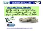 how to earn money on klikot and get master card