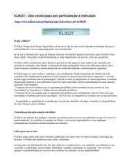 klikot site social paga aos seus usuarios conforme a sua contribuicao