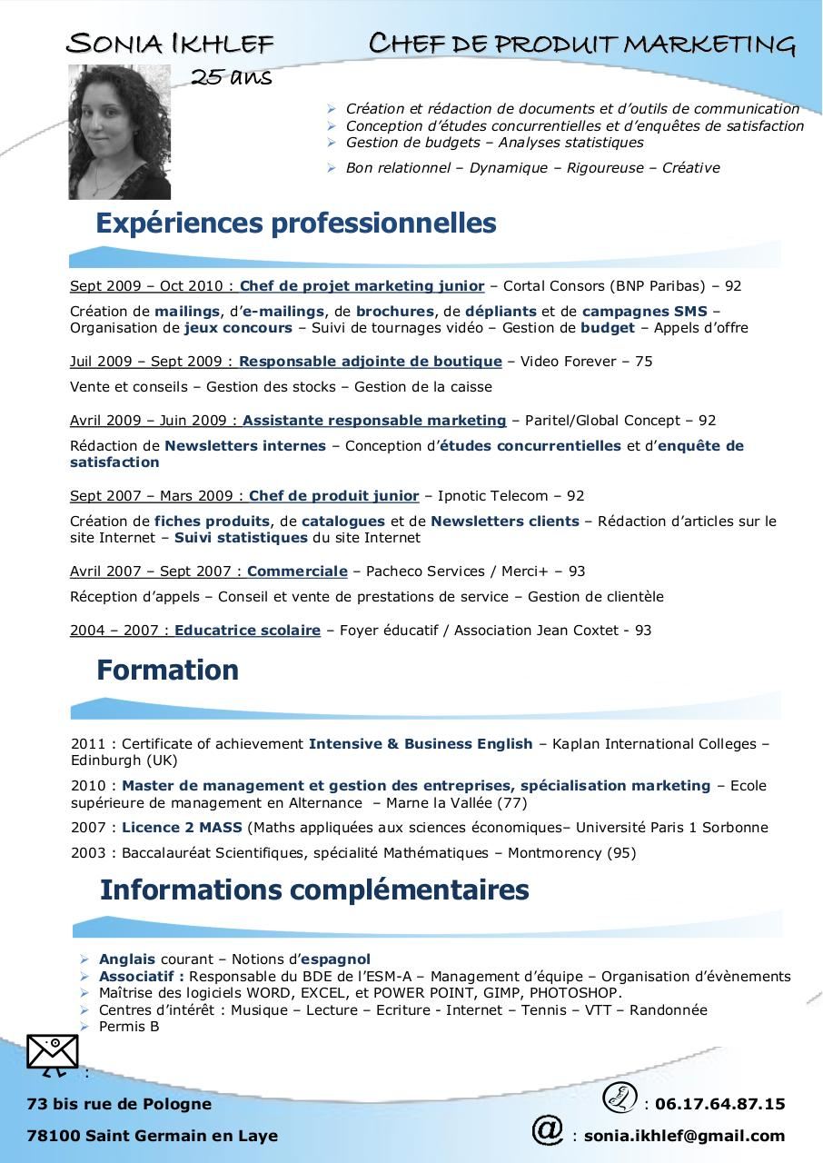 exemple de cv chef de produit marketing