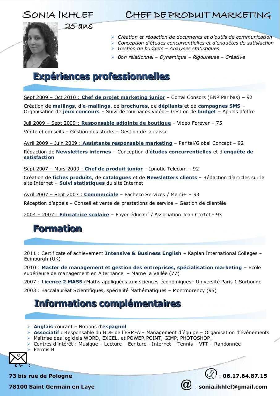 modele cv chef de service educatif