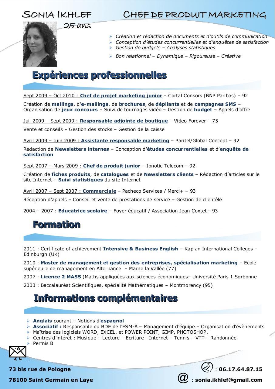 nom pr u00e9nom par free cv - cv sonia - chef de produit pdf