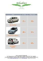 Fichier PDF location voiture