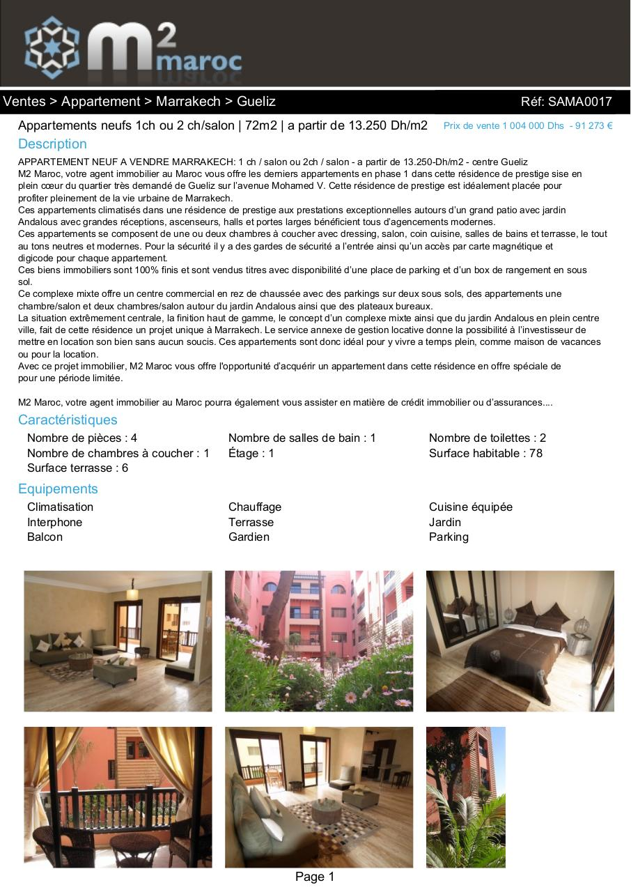 Listing par m2maroc for Agence immobiliere 04