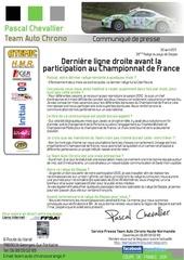 communique presse team auto chrono pascal chevallier porsche cayman s rallye de dieppe