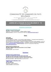 agenda de la semaine en pays bellemois n 70
