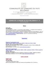 agenda de la semaine en pays bellemois n 71