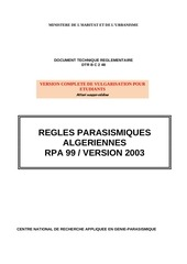 le reglement parasismique algerien 99 version 2003