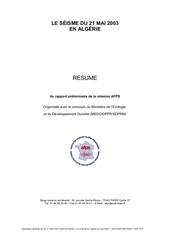 resume rapport seisme du 21 mai 2003