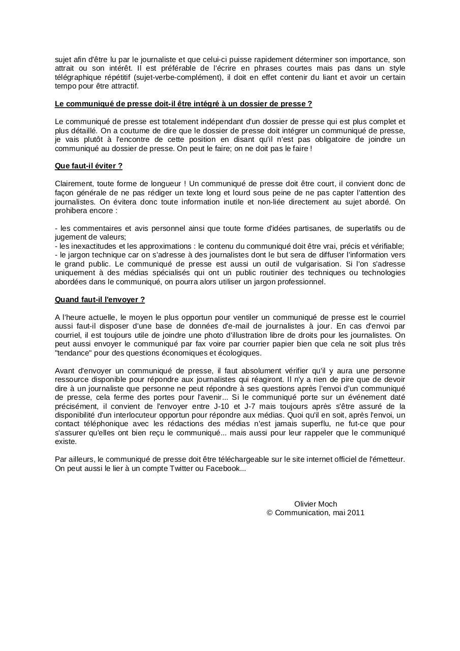 Le Communique De Presse Par Omoch 2011 05 10 Le