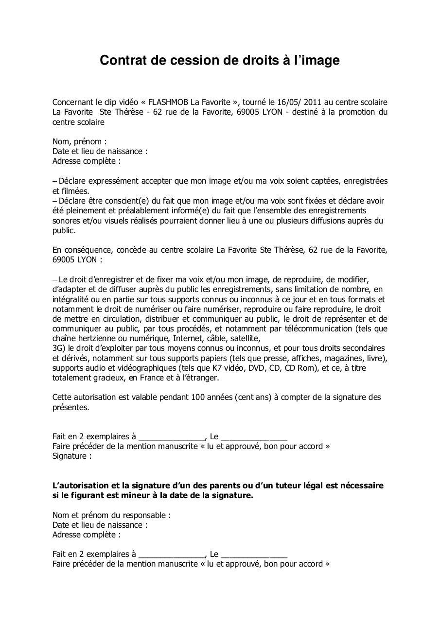 contrat de cession de droit a l image