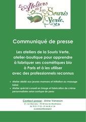 info presse ateliers de cosmetiques bio a paris