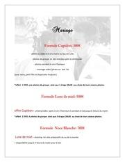 Fichier PDF offres mariage