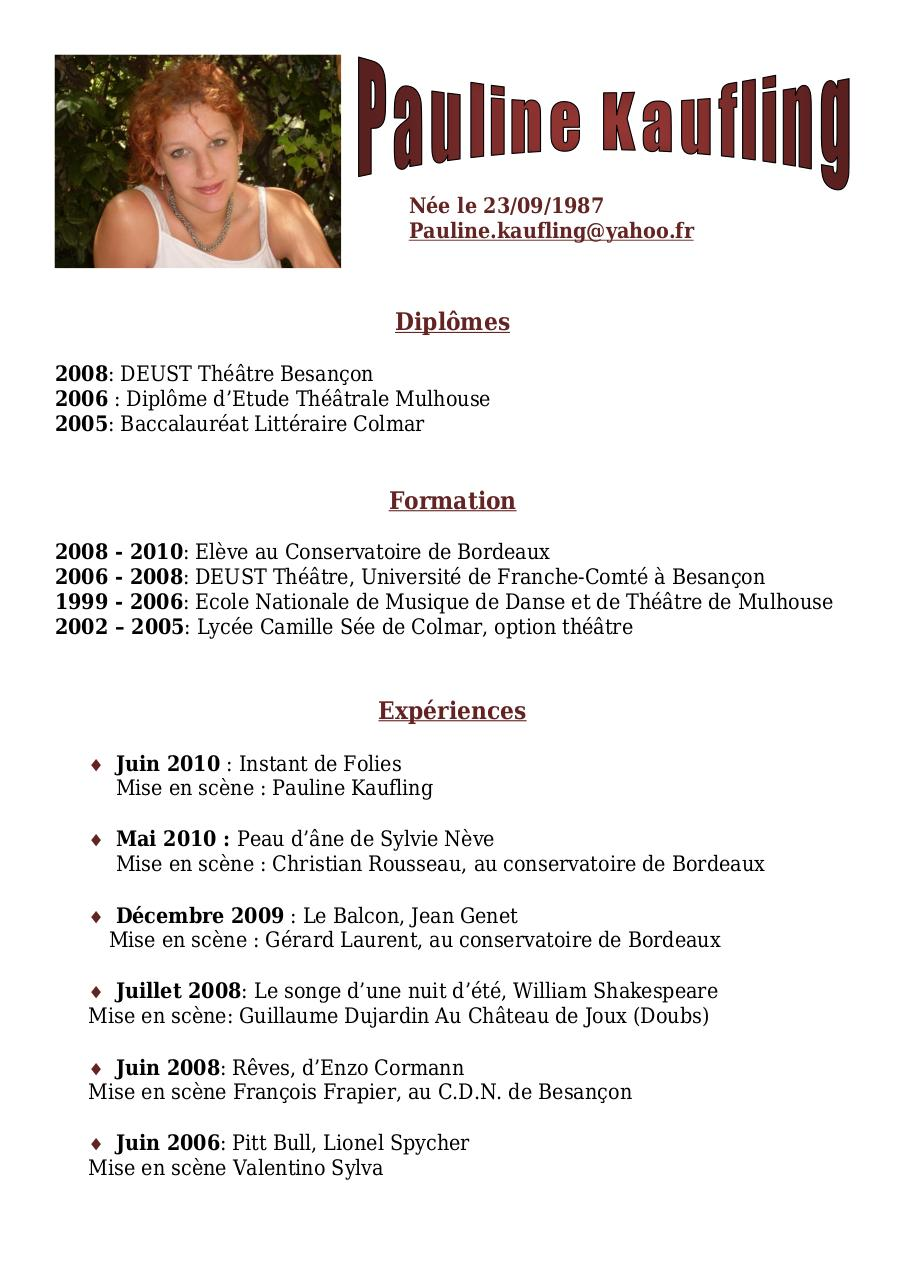 pauline kaufling par hubert - c v artistique 1 pdf