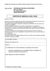 certificat medical 2011 2012