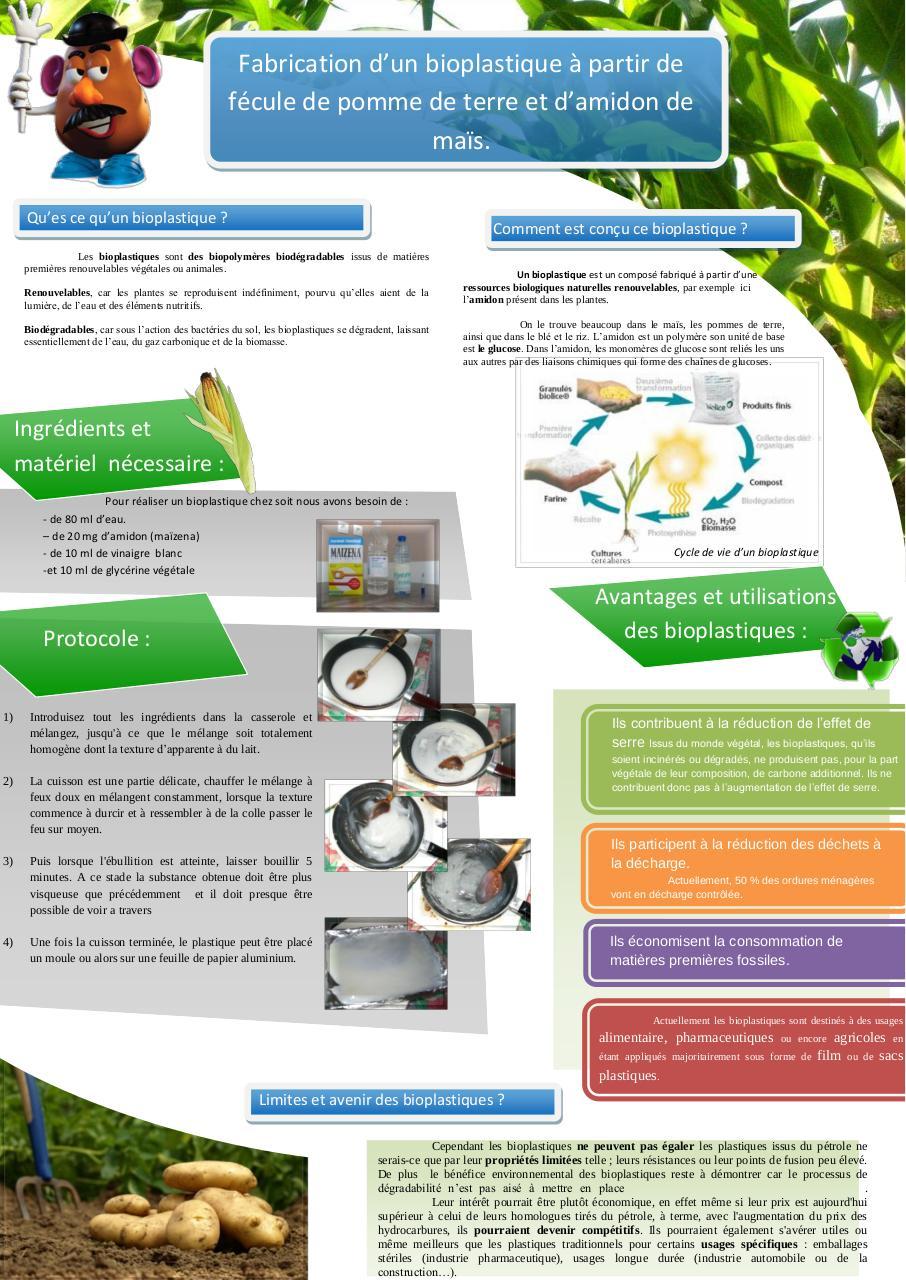 affiche projet tutor u00e9 bioplastique par alexandre