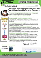 communique presse tac sport events rallye du limousin pascal chevallier david heulin porsche cayman s