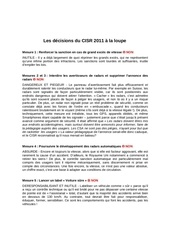 les decisions du cisr 2011 a la loupe