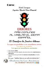 programa del curso sobre los errores m s comunes al hablar el idioma espanol