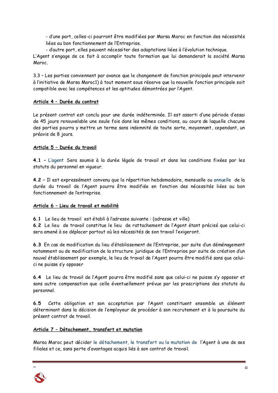 Annexe 3 Contrat Cdi Agents Doc Par Administrateur Annexe 3
