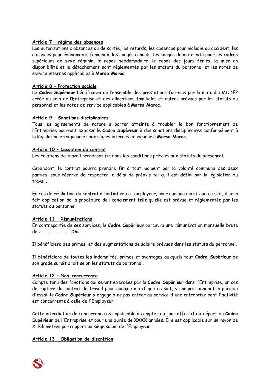 Annexe 4 Contrat Cdi Cadres Superieurs Doc Par Administrateur