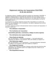 reglement interne association fighters