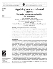applying resource based theory mills article