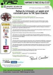 communique presse tac sport events resultat rallye du limousin pascal chevallier david heulin porsche cayman s
