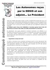 5 8 avril 2011 les autonomes recus par le ddsis et son adjoint le president
