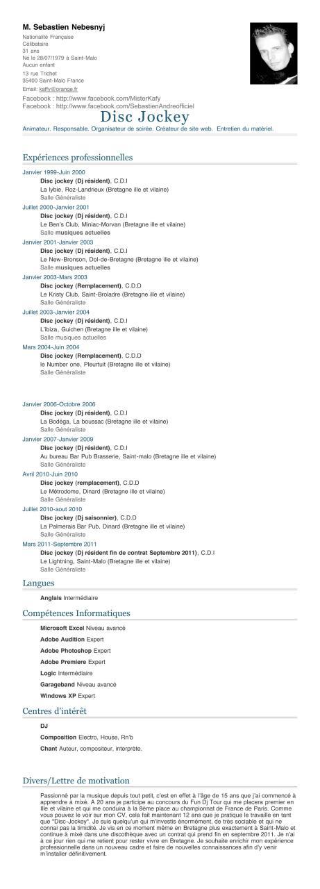 mon cv disc jockey 2011 mon cv disc jockey 2011 pdf