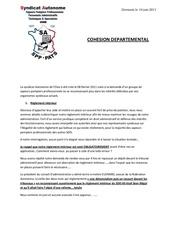 14 juin 2011 demande de cohesion departementale