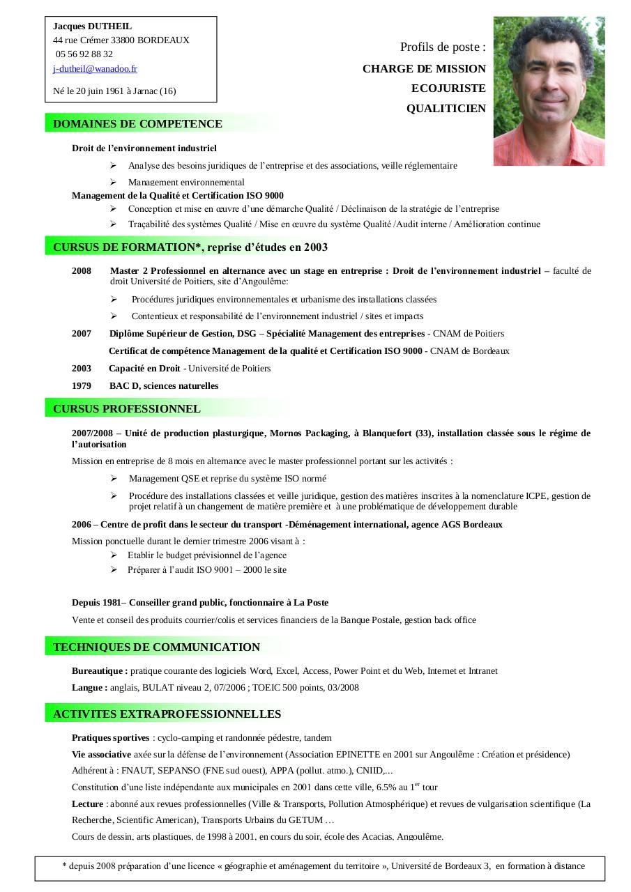 postes qualiticien par jacques dutheil - cv jacques dutheil pdf