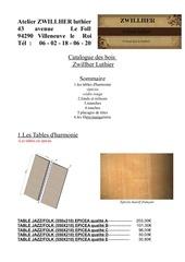 catalogue des bois atelier zwillher luthier