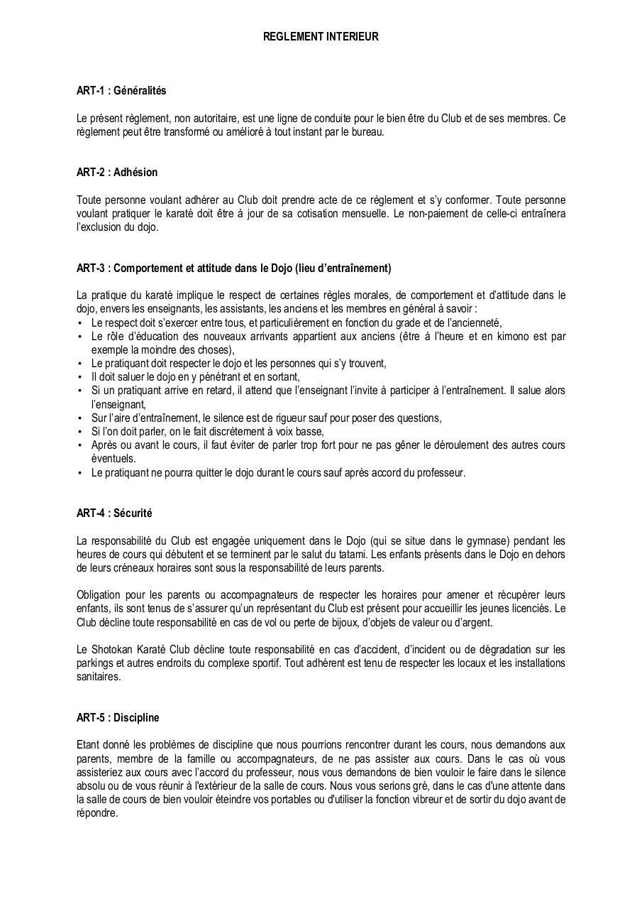 R glement int rieur dojo par isabelle fichier pdf for Exemple reglement interieur association