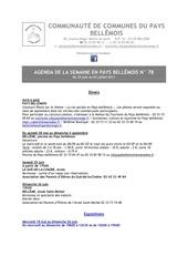 agenda de la semaine en pays bellemois n 78