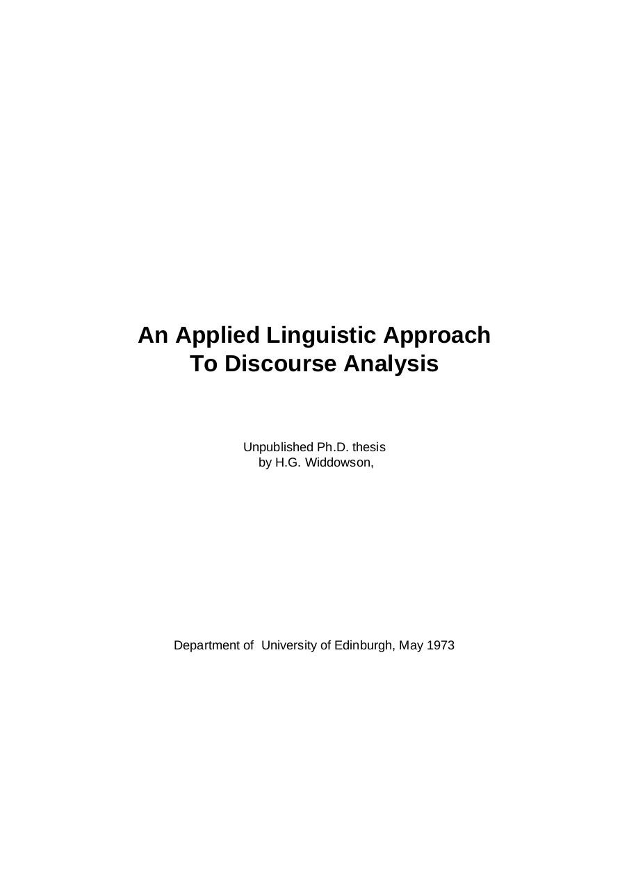 An applied Linguistic Approach to Discourse Analysis by H.G. Widdowson.pdf - page 1/245