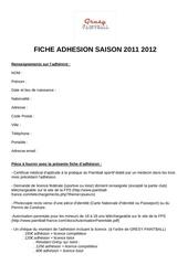 fiche adhesion saison 2011 2012