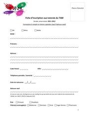 fiche inscription paces 2011 2012