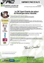 communique de presse tac resultat du rallye du rouergue pascal chevallier david heulin porsche cayman s gt10
