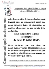 17 10 juillet 2011 suspention de la greve