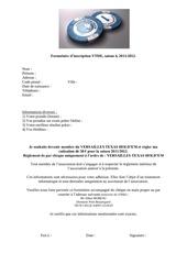 formulaire d inscription 2011 et 2012