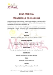 menu noche medieval