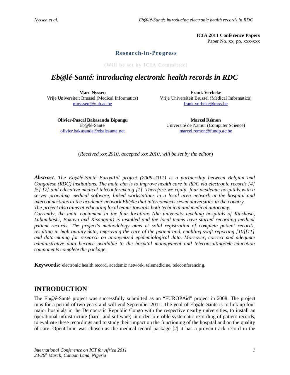 Aperçu du document Introducing Electronic Health Records in Democratic Republic of Congo .pdf - page 1/7