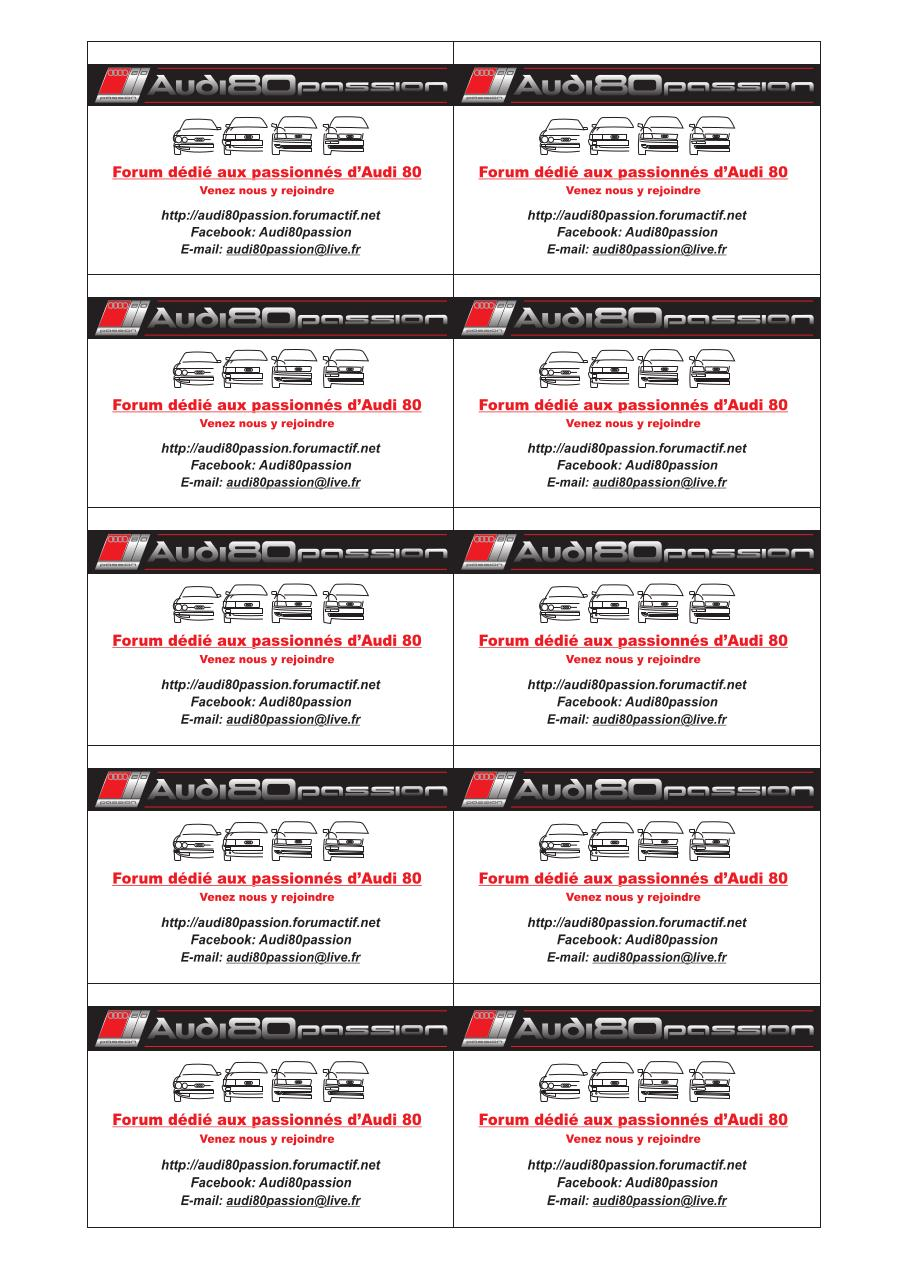 Aperu Du Document Cartes De Visite Audi80passionpdf